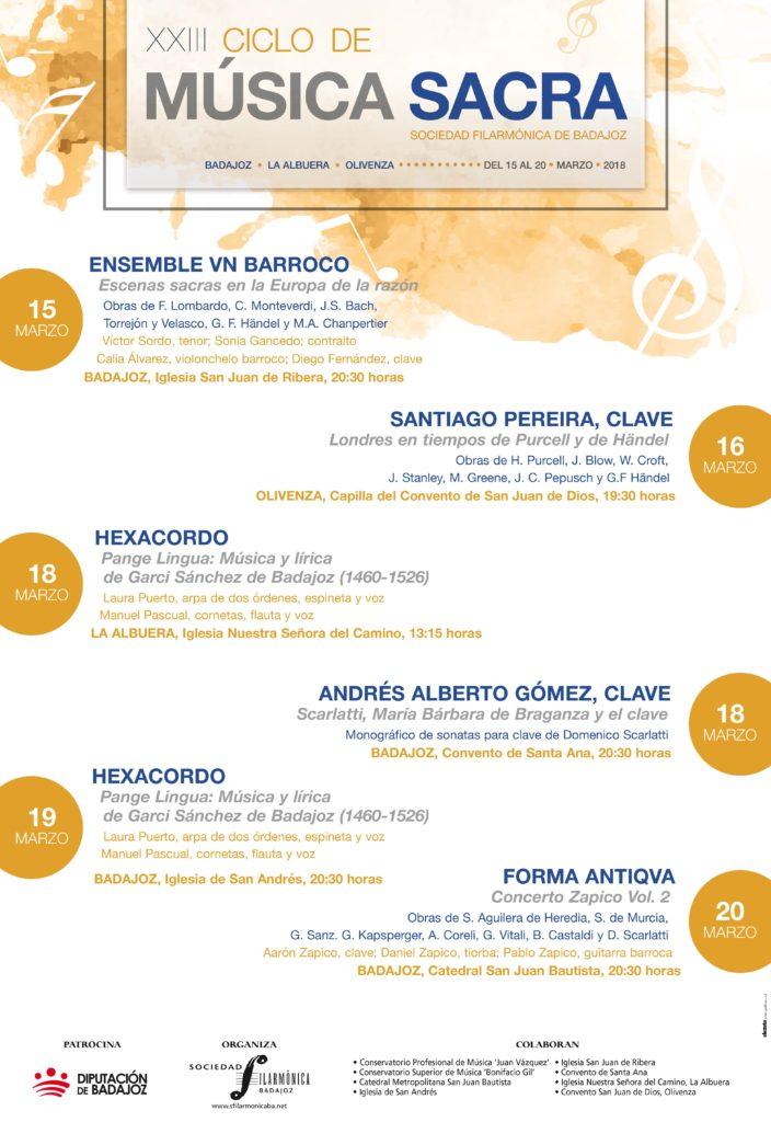 Cartel XXIII Ciclo de Música Sacra de Badajoz