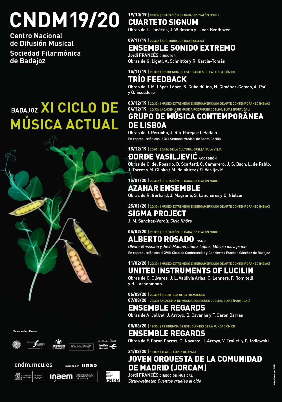 Cartel de la programación del XI Ciclo de Música Actual de Badajoz, 2019-2020