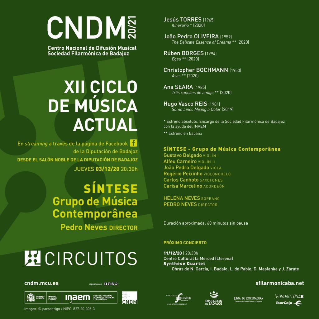 Programa del concierto que Síntese ofrecerá en el XII Ciclo de Música Actual de Badajoz.