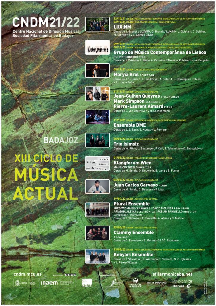 Cartel XIII Ciclo de Música Actual de Badajoz.